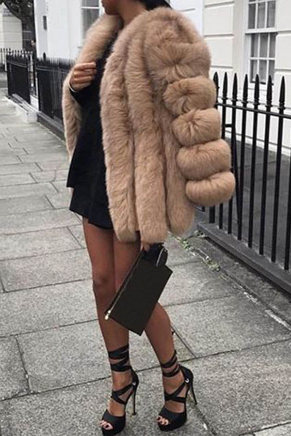 Solid Color Round Collar Long Sleeve Plush Coat