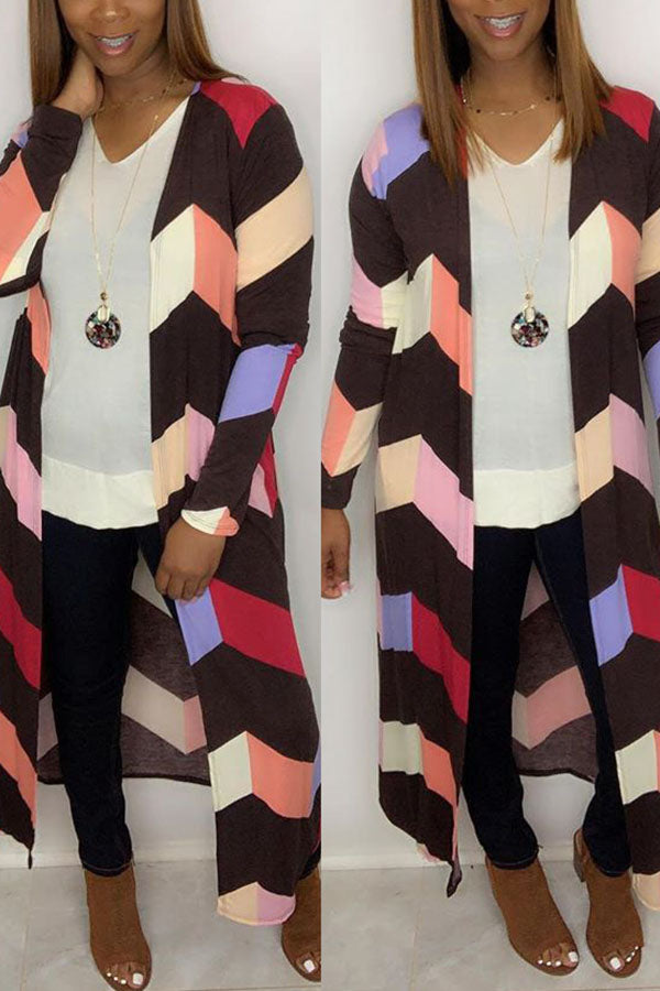Multicolored Striped Long Cardigan