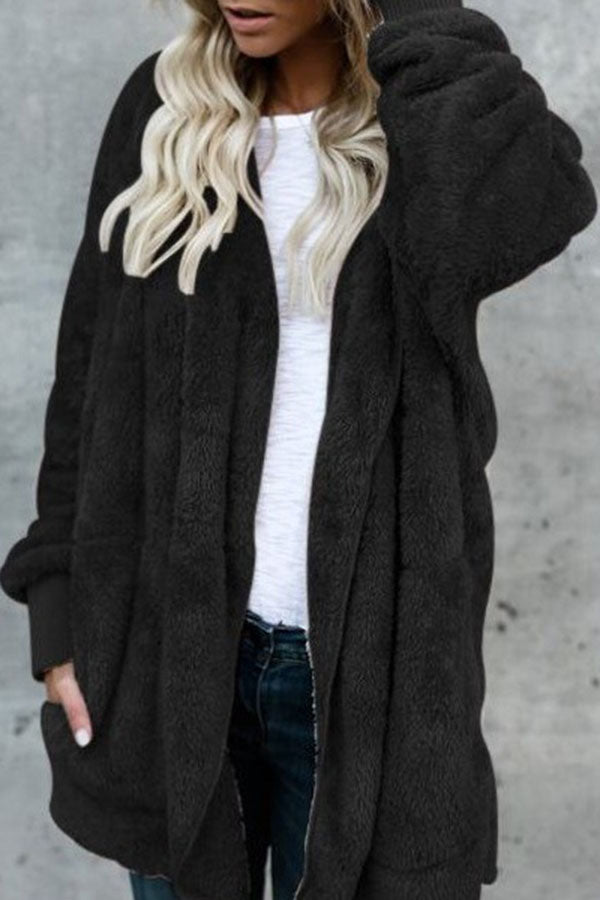Solid Color Fur Pocket Coat