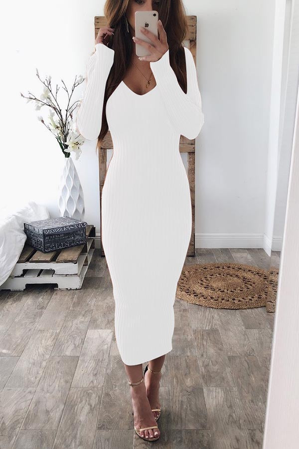 Round Neck Long Sleeve Dress