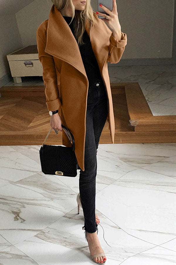 Mandarin Collar Solid Color Coat