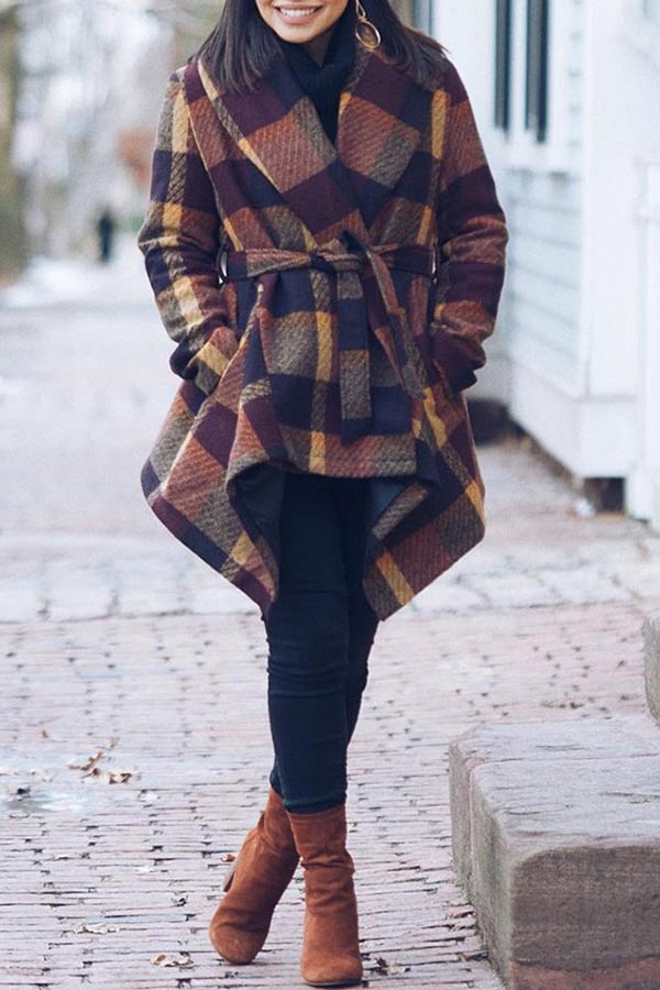 Lace Up Plaid Lapel Coat