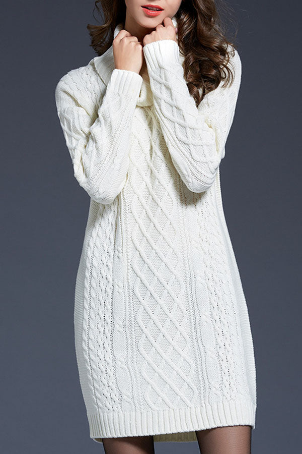 Solid Color High Collar Sweater Dress