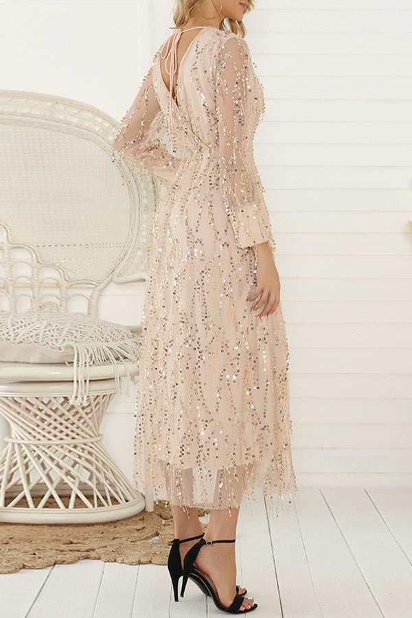 Long Sleeve Fringe Sequin Dress