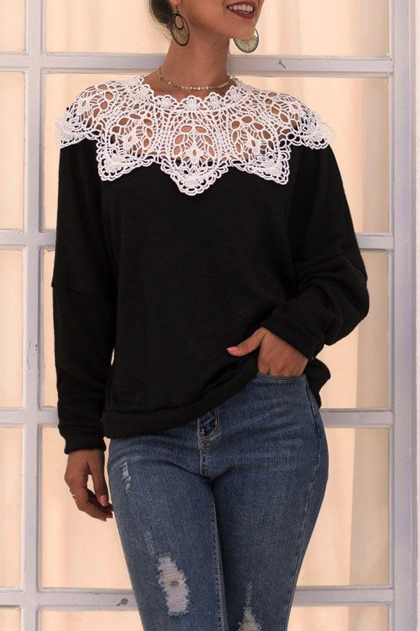 Lace Patchwork Knit Top