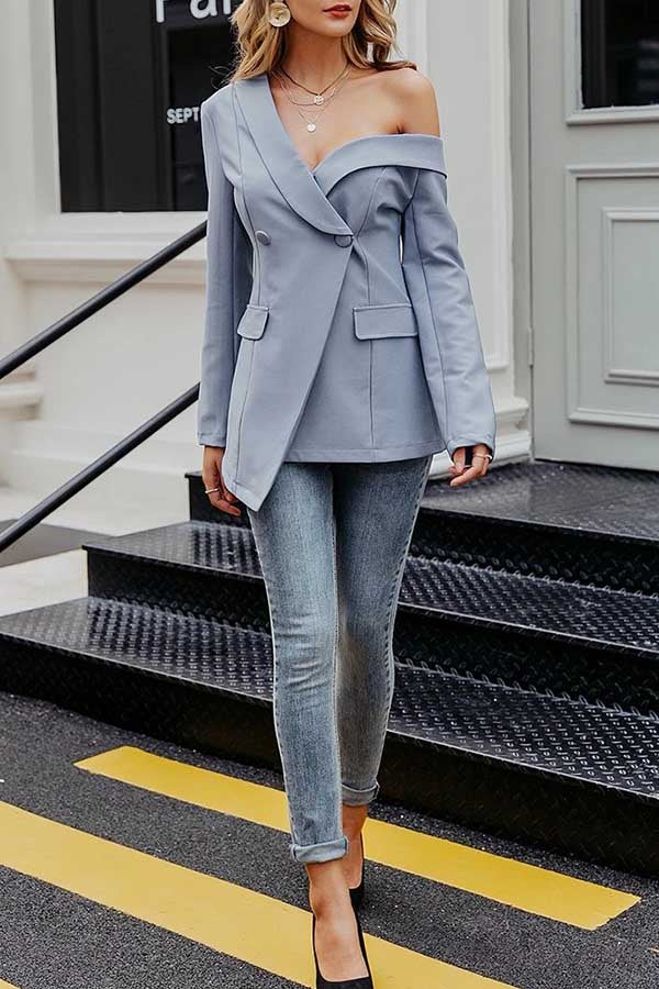 Solid Color Oblique Collar Blazer