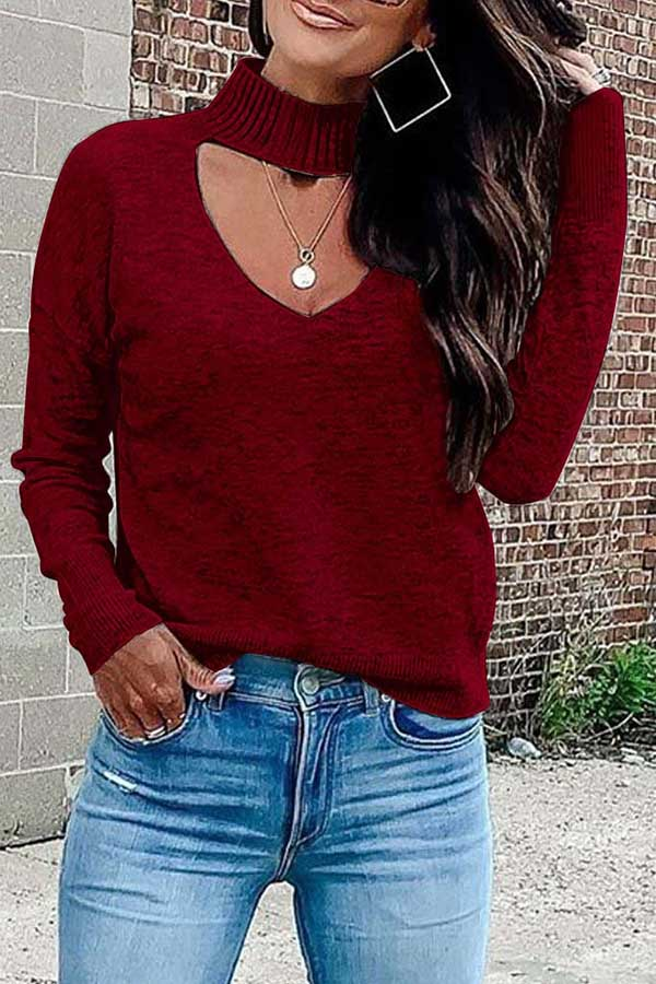 Solid Color V-Neck Sweater
