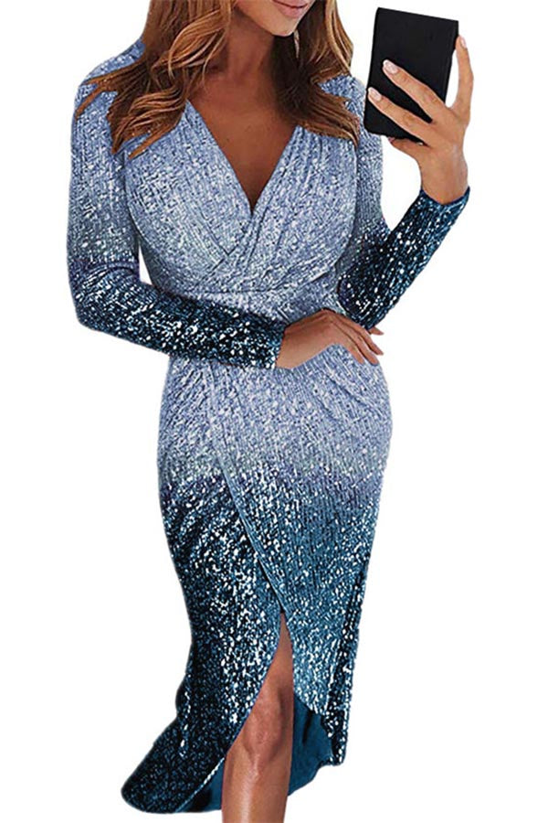 Gradient Sequin Dress