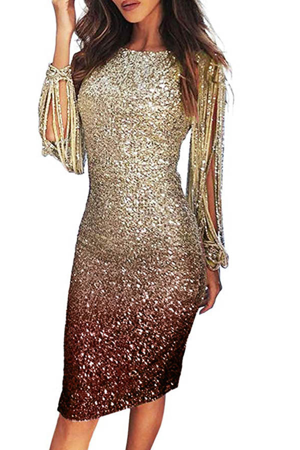 Gradient Sequin Tassels Dress