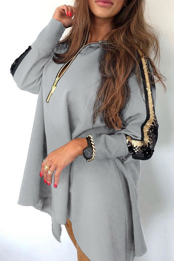 Sequin Zipper Splicing Coat