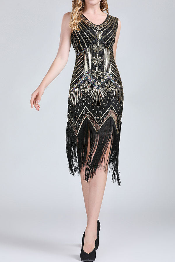V-Neck Sequin Beaded Fringe Patchwork Dress