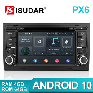 Isudar PX6 2 Din Android 10 Car Multimedia Player GPS DVD For Audi A4 - ISUDAR Official Store