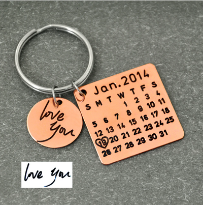 Personalized Calendar Keychain For Anniversary, Couples, Wedding & Engagement Gift - 50% Discount For New Couples
