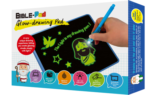 Bible-Pad Glow-Drawing Pad (included UV LED Lighting Pens, Bible Heroes Drawing Stencils, Washable Protective Gel-case)