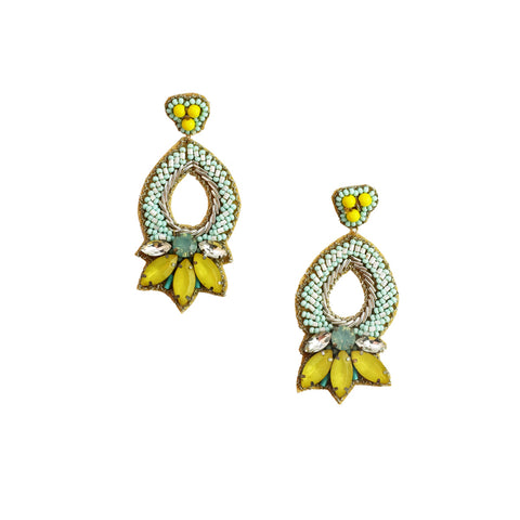MALANYA EARRINGS- BLUE /YELLOW