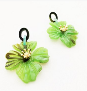 Granada Flora Earrings Green.