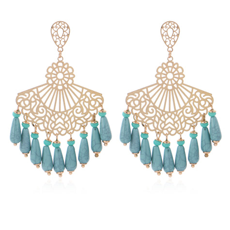YAZ GOLD FRET METAL WITH TURQUOISE MANMADE BEADS EARINGS