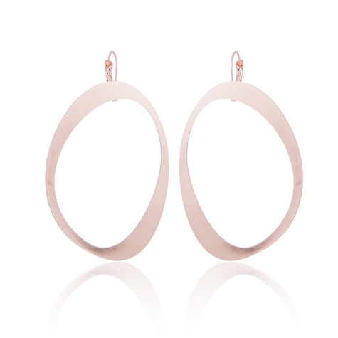 AURA BRUSHED ROSE GOLD METAL EARRINGS