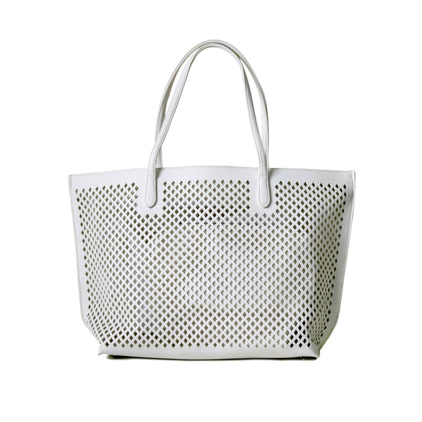 UBIKA DIAMOND CUT WHITE HANDBAG
