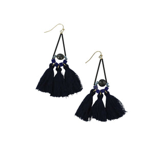 MOLLY FRINGE EARRINGS NAVY
