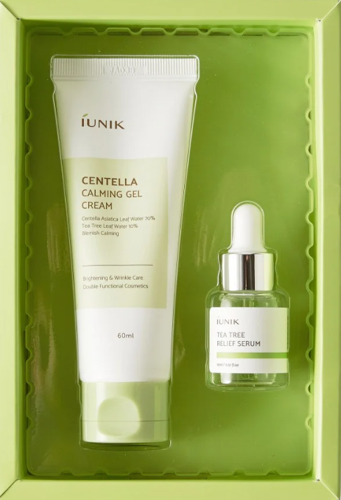 iUNIK Centella Edition Skincare Set [Includes iUNIK Centella Calming Gel 60ml and Tea Tree Relief Serum 15ml]