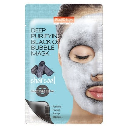 PUREDERM Deep Purifying Black O2 Bubble Mask Charcoal 1pc
