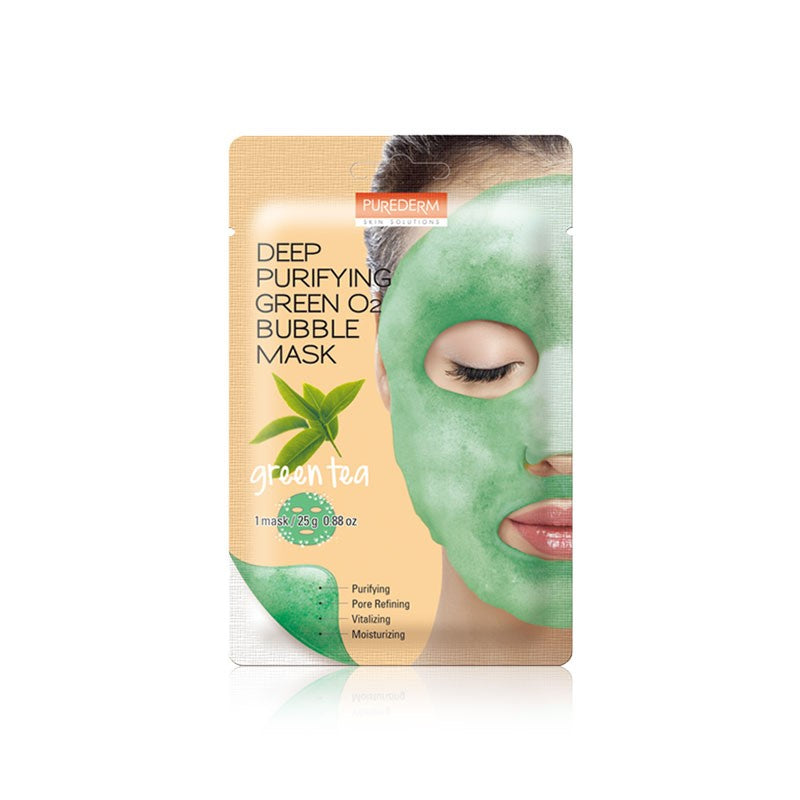 PUREDERM  Deep Purifying Green O2 Bubble Mask - Green Tea 1 pc