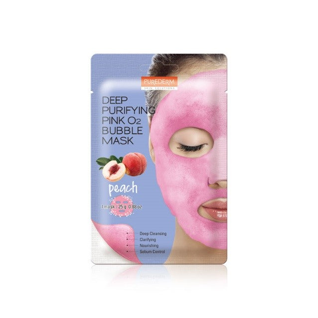 PUREDERM  Deep Purifying Pink O2 Bubble Mask - Peach 1 pc