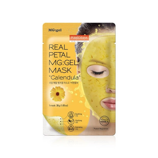 PUREDERM Real Petal MG:gel Mask - Calendula 1 pc
