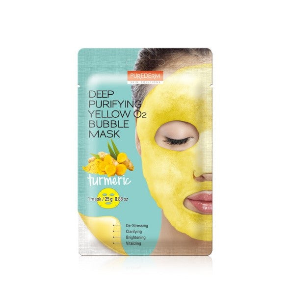 PUREDERM Deep Purifying Yellow O2 Bubble Mask - Turmeric 1 pc