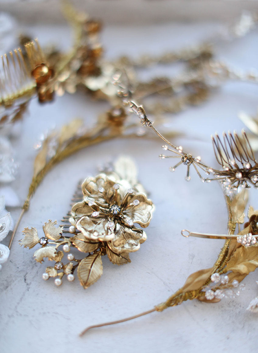 twigs and honey trunk show, elizabeth messina, bridal hair accessories, hair combs