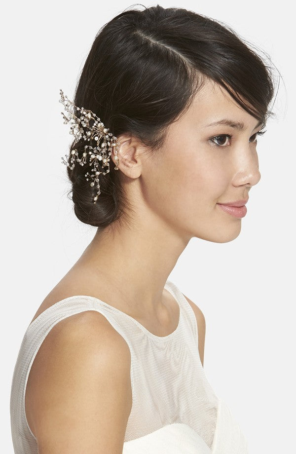 twigs and honey dainty crystal and pearl comb, nordstrom wedding suites, bridal headpiece, hair accessories