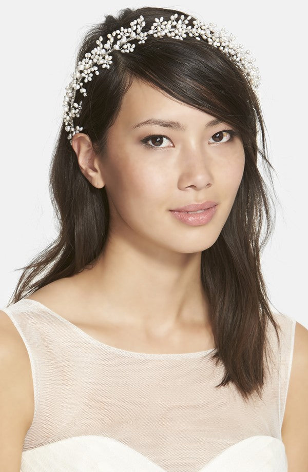 twigs and honey baby's breath freshwater pearl and swarovski crystal headband, hair vine, nordstrom