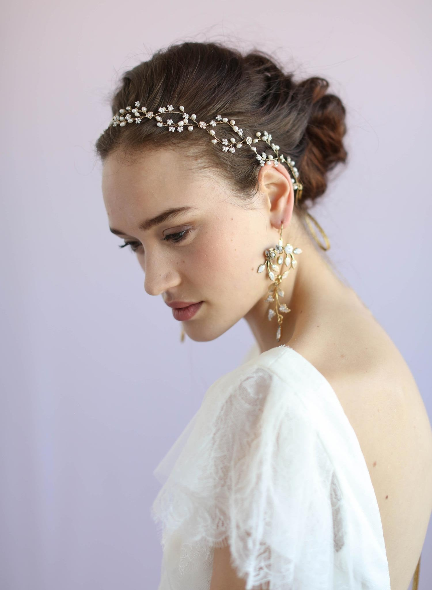 Bridal delicate beaded hair vine, headpiece, by twigs and honey, pearl drop halo