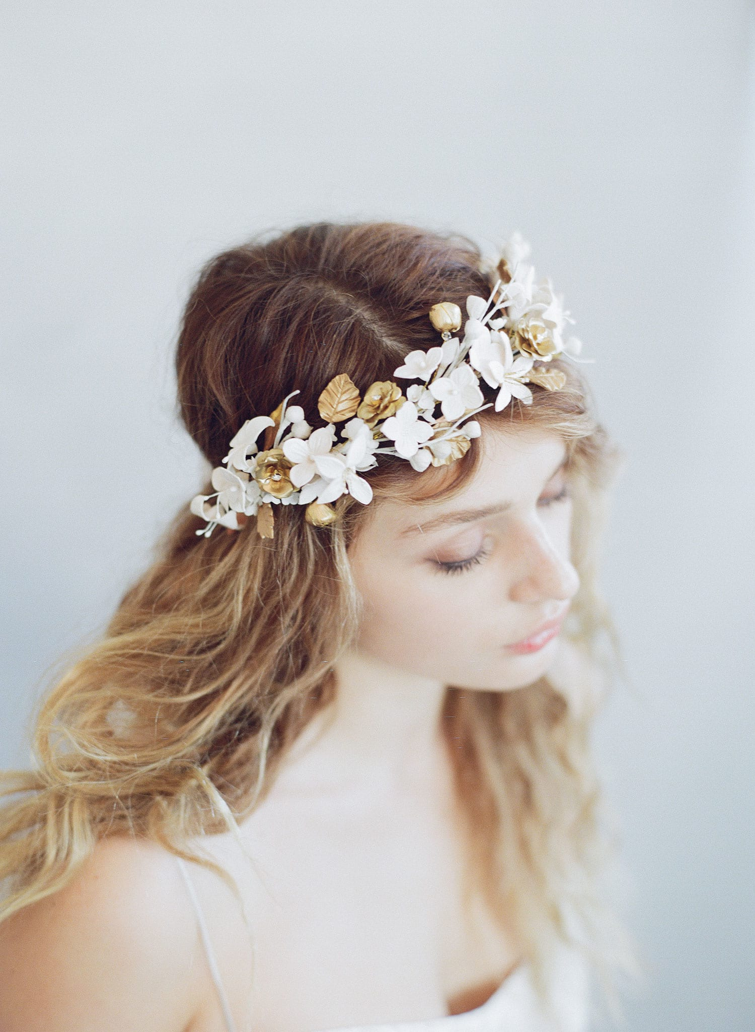 bridal flower crown, wedding flower tiara, twigs and honey