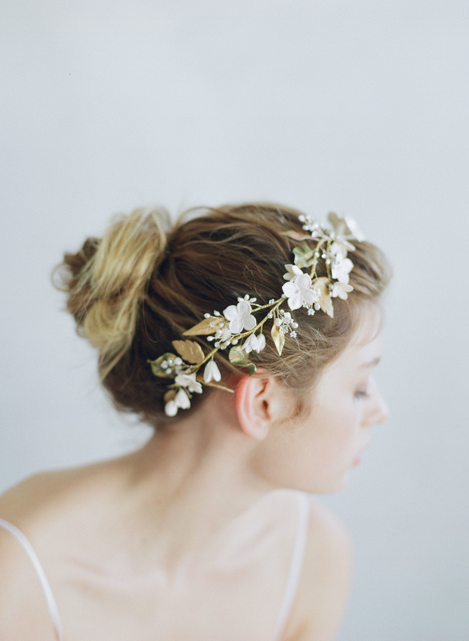 woodland inspired bridal headpiece, hairpiece, flowers