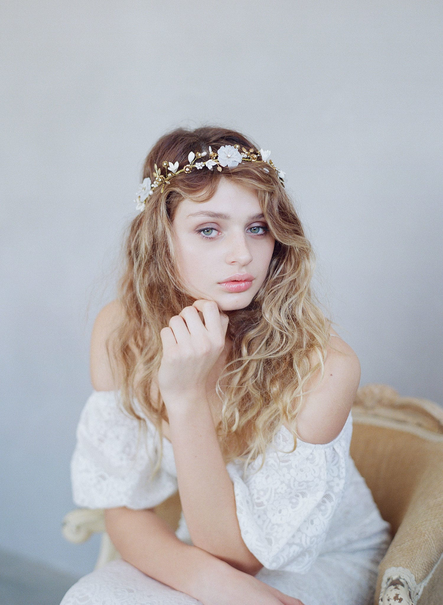 bridal flower crown, handmade clay flowers, twigs and honey