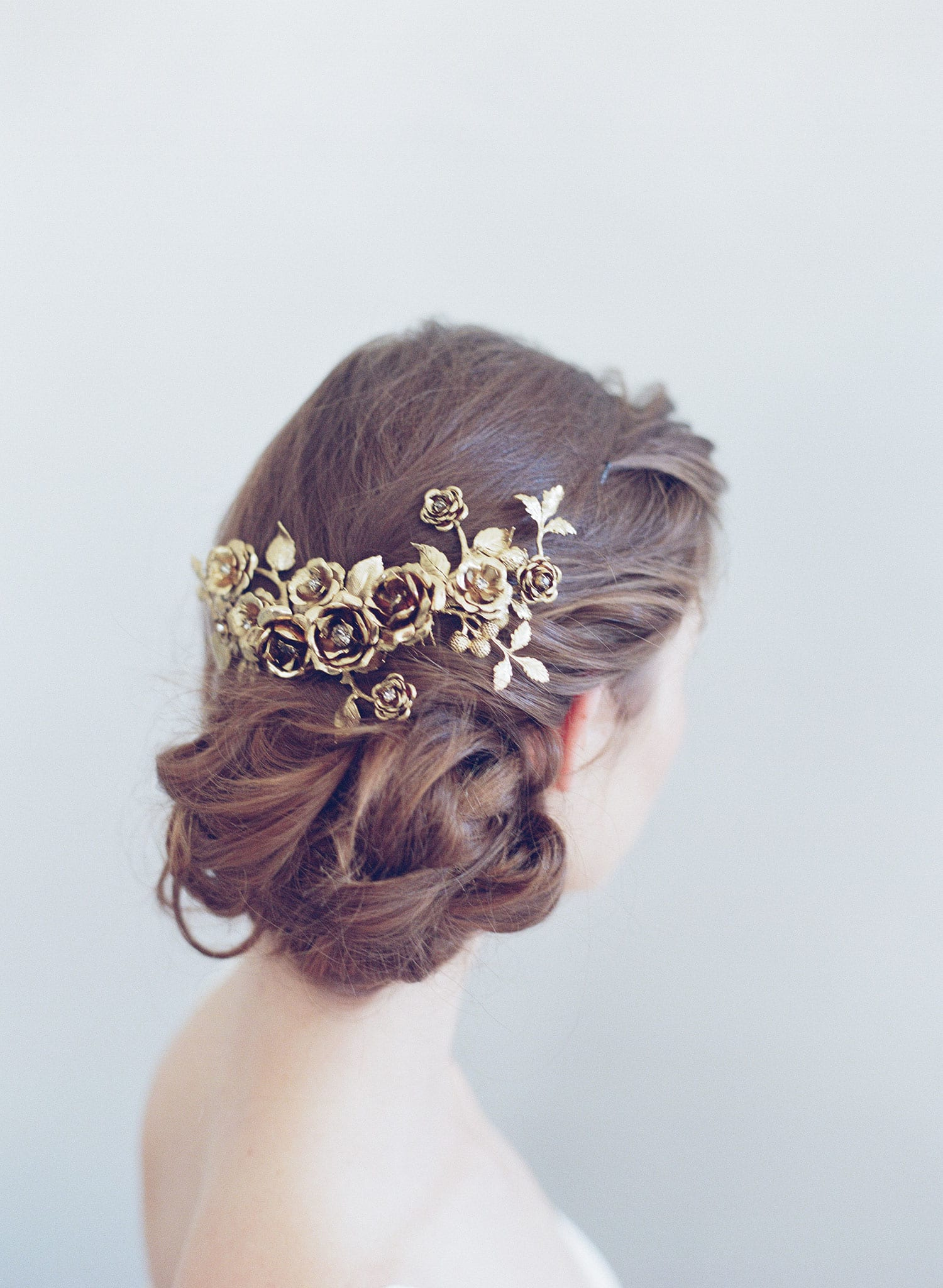 bridal rose headpiece, floral hair comb, twigs & honey
