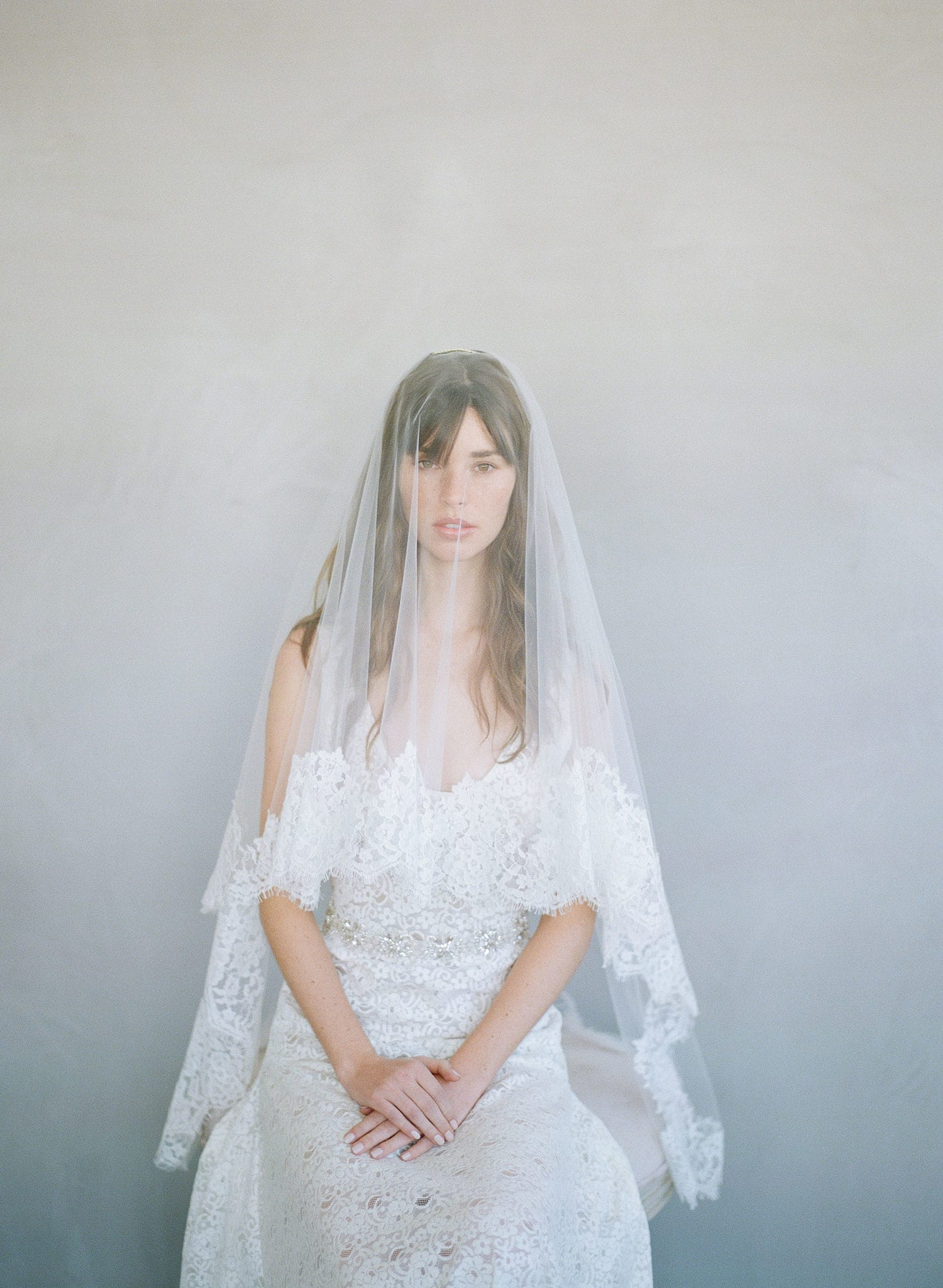 french lace trim bridal fingertip veil, blusher veil, twigs and honey