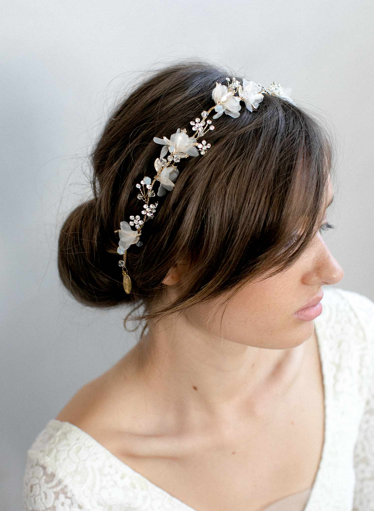Bridal hair vine with silk blossoms
