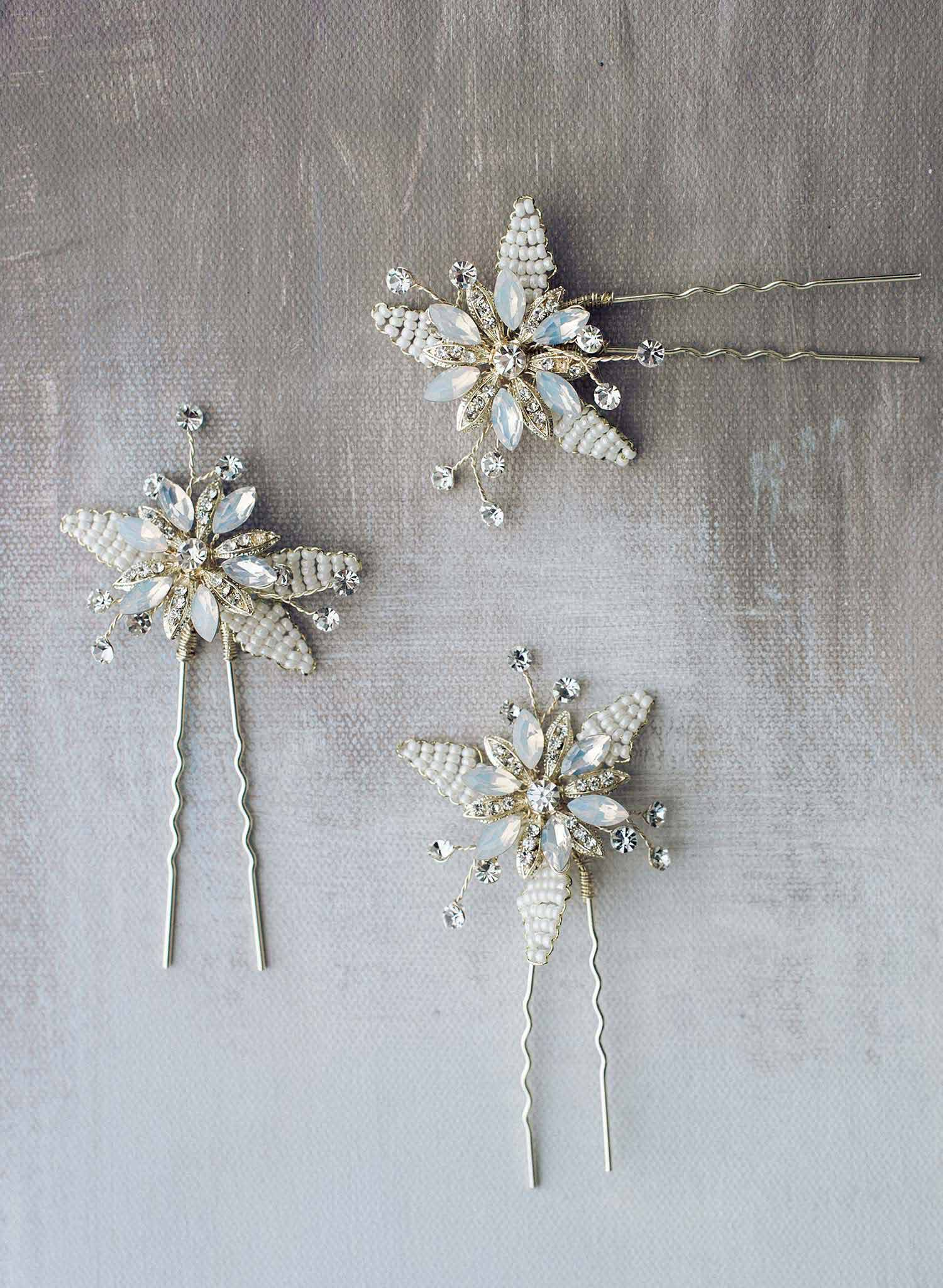bridal hair pins with crystals
