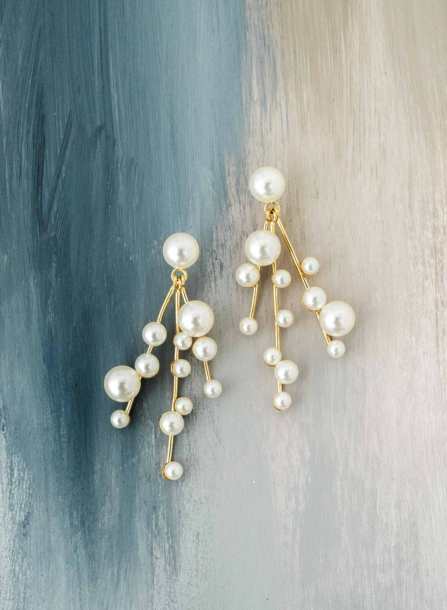 bridal modern pearl chandelier earrings