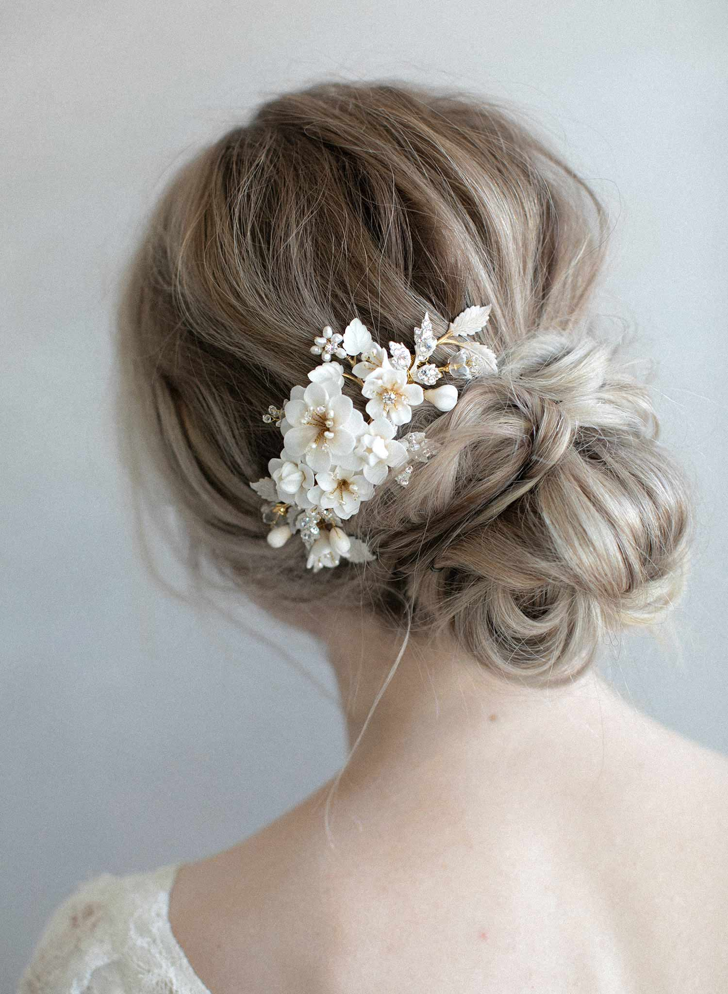 bridal clay flower hair comb by twigs and honey