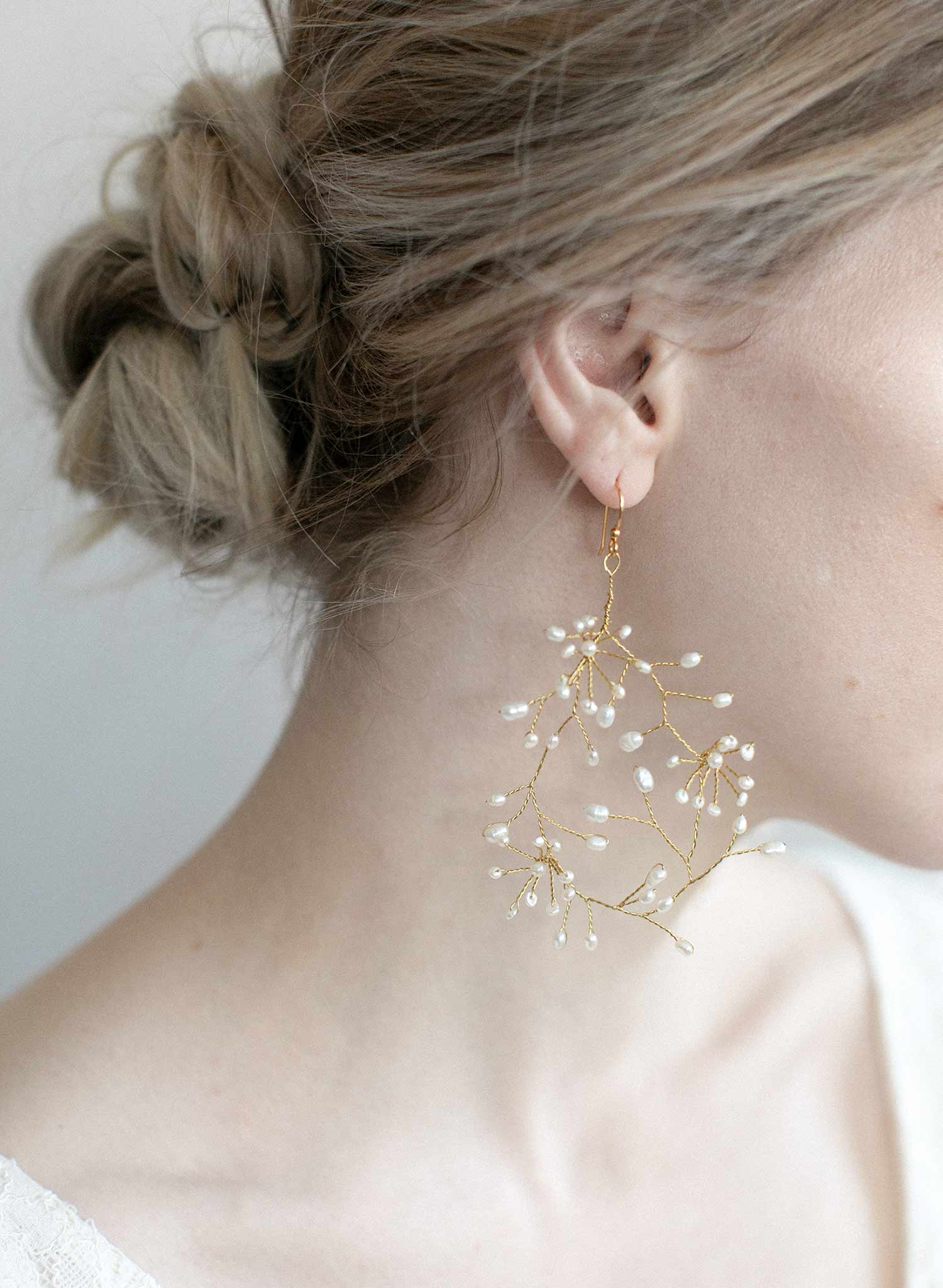breathless pearl earrings, bridal by twigs and honey