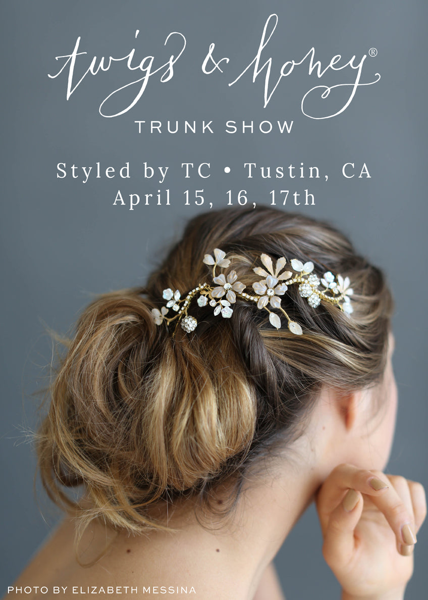 twigs & honey trunk show, styled by tc, bridal hair accessories