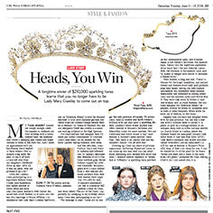 tiara in wall street journal, floral tiara, twigs and honey, crystal tiara
