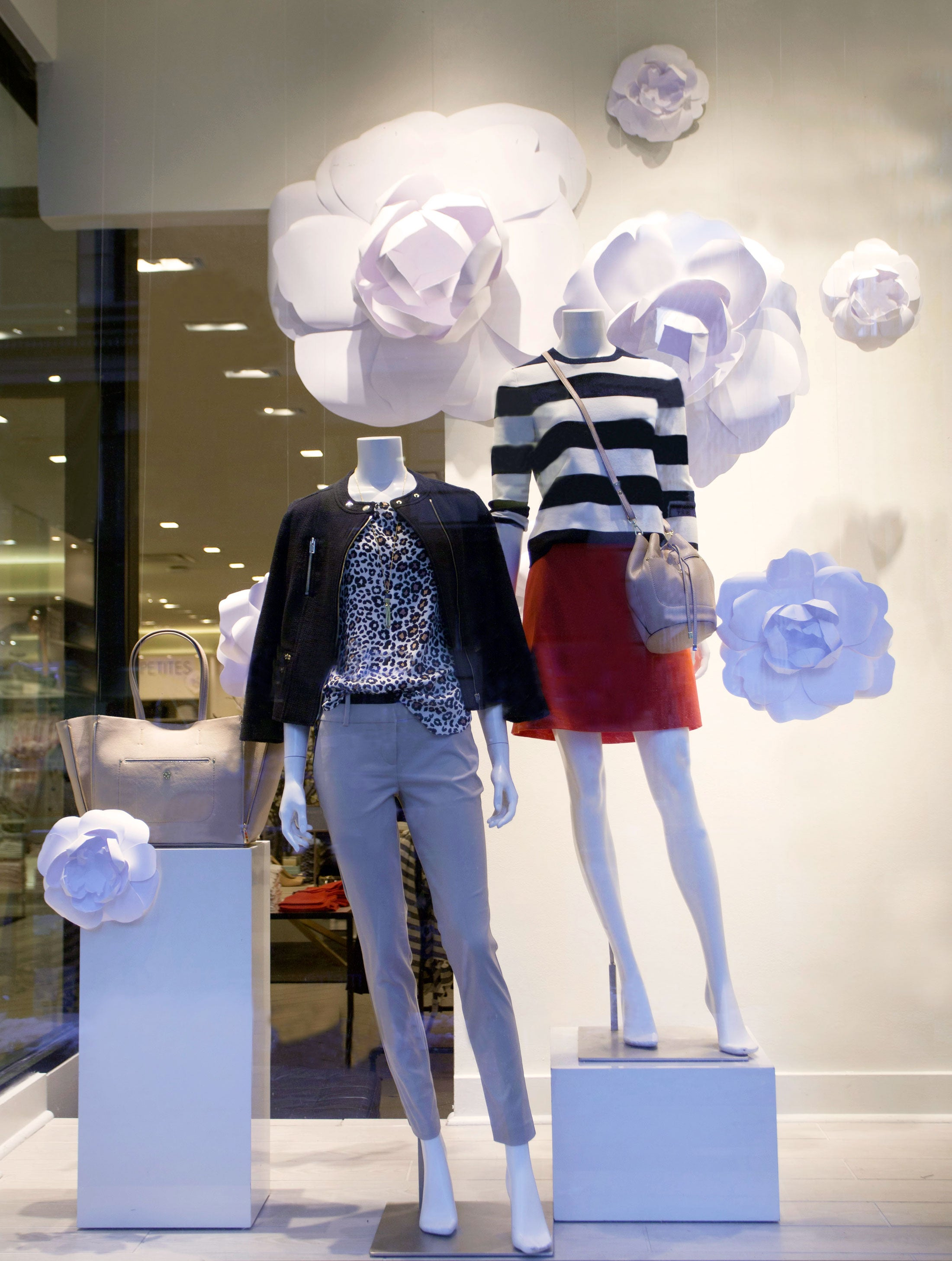ann taylor window displays, paper flowers, handmade paper flowers, twigs and honey, white paper flowers