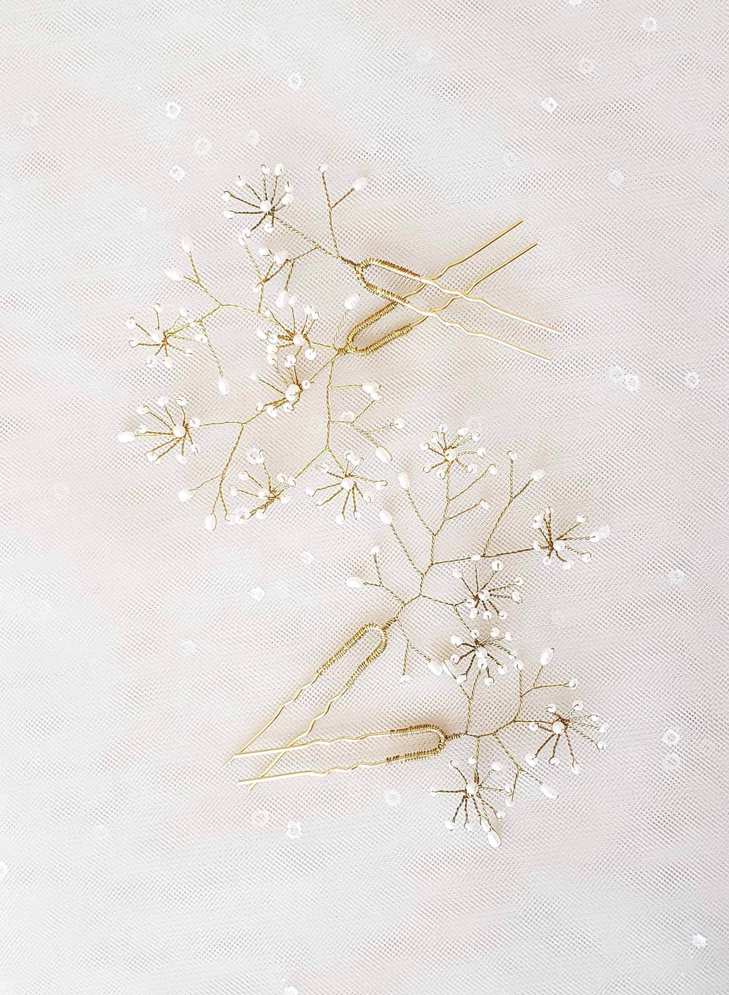 bridal babys breath hair pin set, breathless flowers, pearls