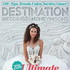 destination weddings and honeymoons magazine 2016 twigs and honey cover headpiece