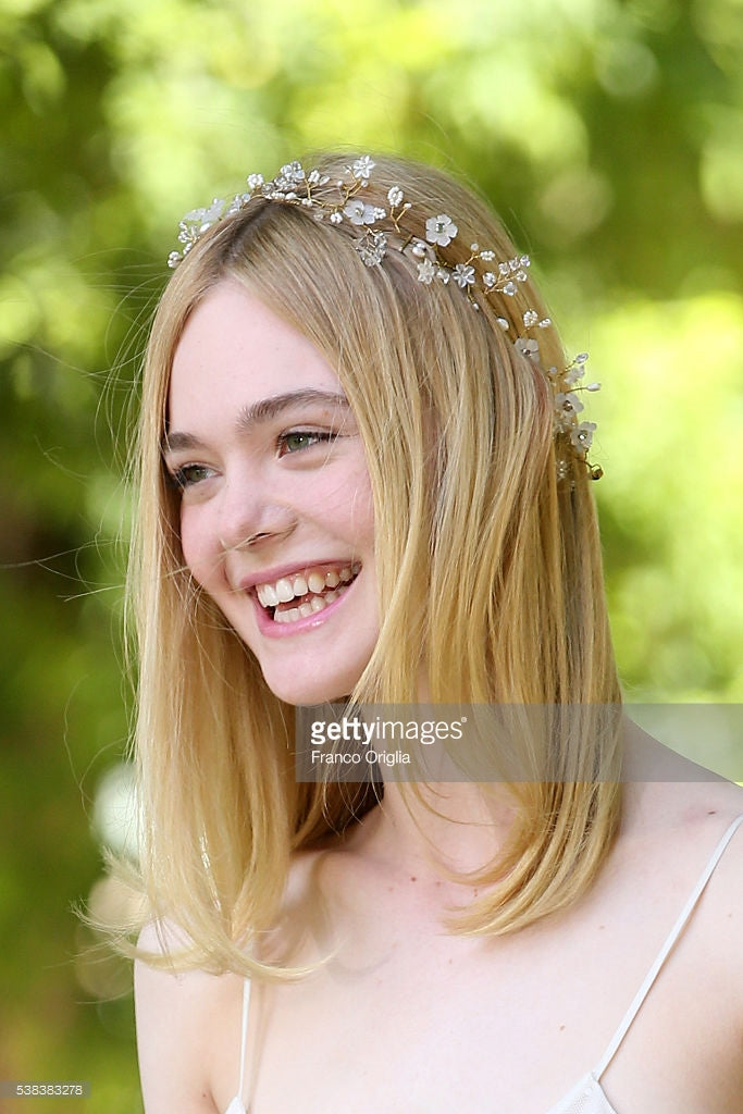 Elle Fanning, flower crown, Rome Italy, The Neon Demon, Hair, Hair vine, Twigs and Honey, hairstyle